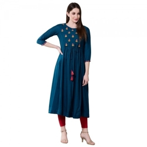 Janakdulari Creation Navy Blue Rayon Embroidered Anarkali Kurta