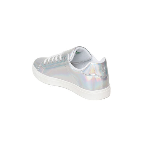 United Colors of Benetton Women Silver-Toned Iridescent Effect Sneakers