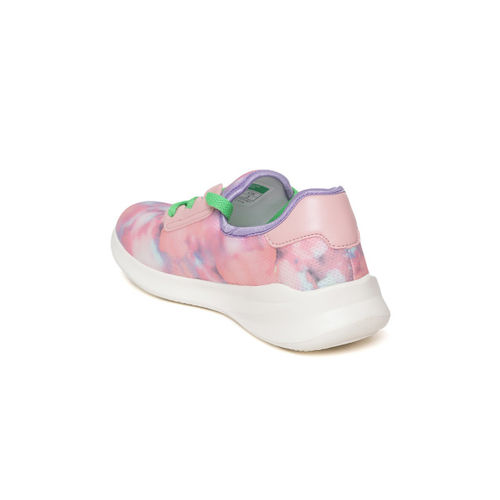 United Colors of Benetton Women Peach-Coloured & Blue Dyed Sneakers