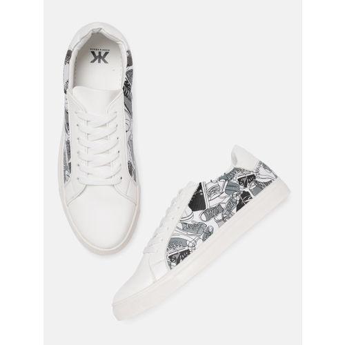 Kook N Keech Women White & Grey Printed Sneakers