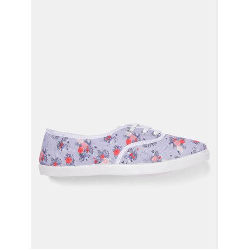 DressBerry Women Lavender Printed Sneakers