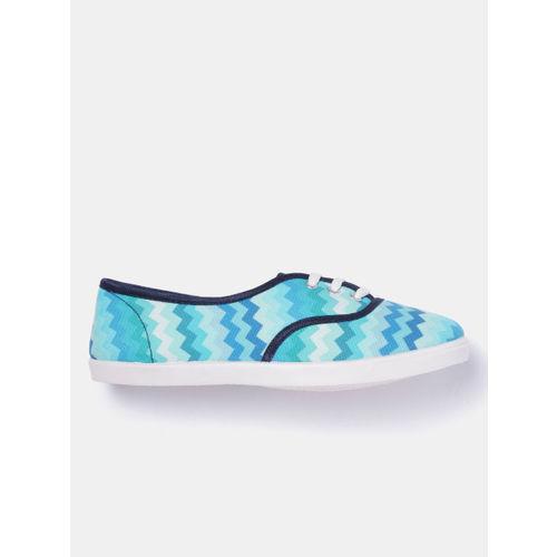 Kook N Keech Women Sea Green & Blue Printed Sneakers