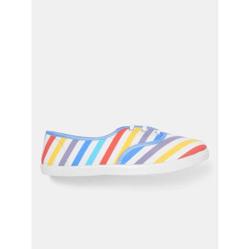 Kook N Keech Women Multicoloured Striped Sneakers