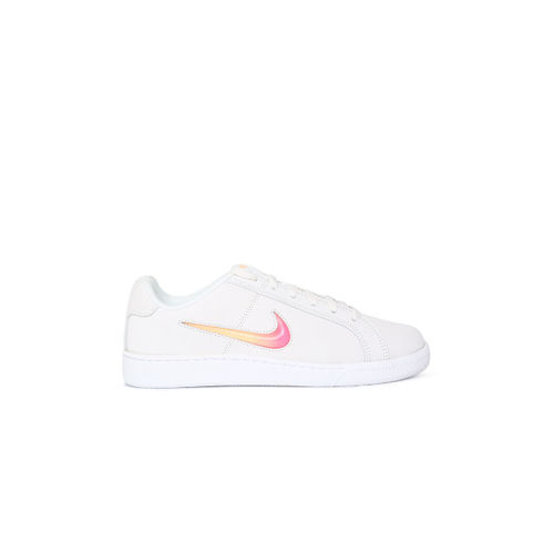 Nike Women White COURT ROYALE PREM Leather Sneakers
