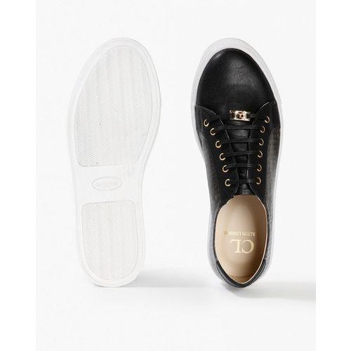 Carlton London Women Black Textured Sneakers