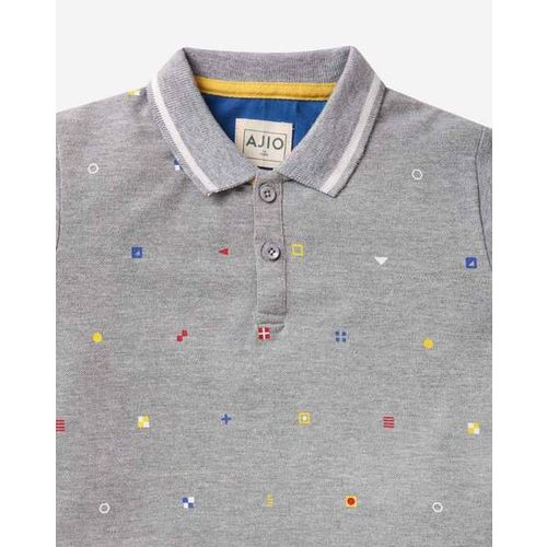 4bb129657b80 Buy AJIO Printed Polo T-shirt online | Looksgud.in