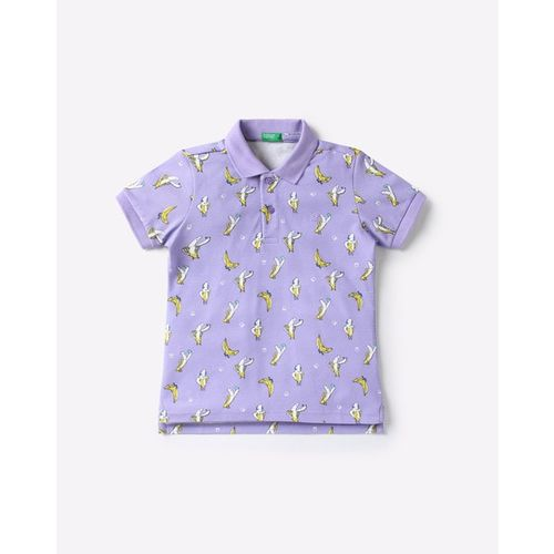 UNITED COLORS OF BENETTON Banana Print Polo T-shirt with Ribbed Hems