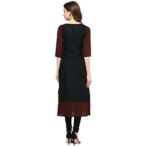 IVES Straight Black Cotton Solid Casual Kurti for Women