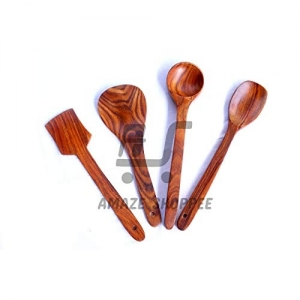 Amaze Shoppee Brown Handmade Wood Cooking Spoon Set, 4-Pieces (WLE-03)