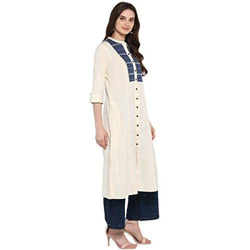 Juniper Cream Cotton Dobby Embroidered Yoke Design A-Line Panelled Kurta with Functional Pocket & Button Detailing