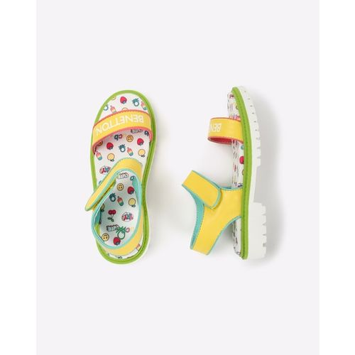 UNITED COLORS OF BENETTON Printed Slingback Sandals with Velcro Closure