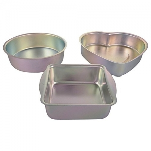 EVER GOLD Silver Aluminum Cake Mould, Set of 3