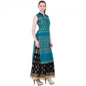 ZOEYAM'S Zoeyams Women's Rama Green Cotton Block Prints Long Straight kurti
