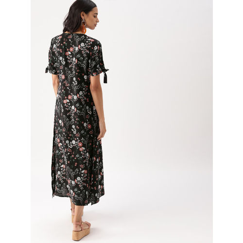 DressBerry Women Black Printed A-Line Dress