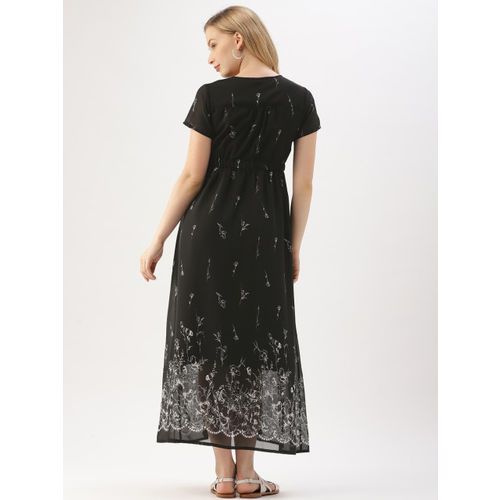 DressBerry Women Black Printed Maxi Dress