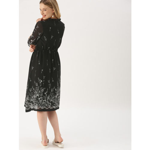 DressBerry Women Black & White Printed Fit and Flare Dress