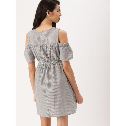 DressBerry Women Black Striped Blouson Dress