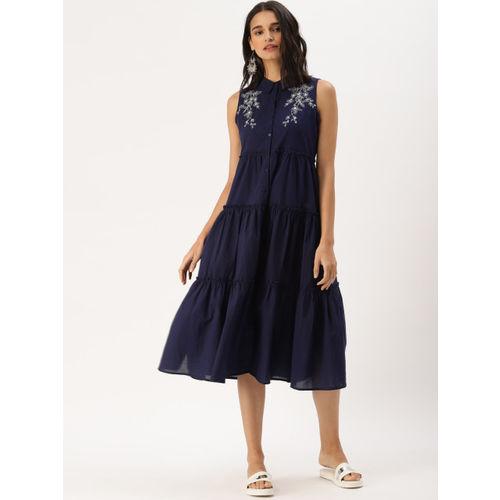 DressBerry Women Navy Blue Solid A-Line Dress