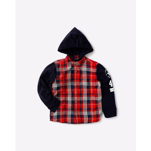 KB TEAM SPIRIT Hooded Checked Shirt with Contrast Sleeve