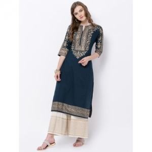 Vishudh Women Solid Straight Kurta(Blue, Gold)
