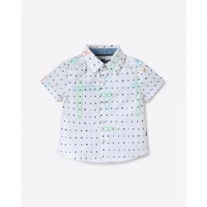 Nauti Nati Kids White Printed Shirt