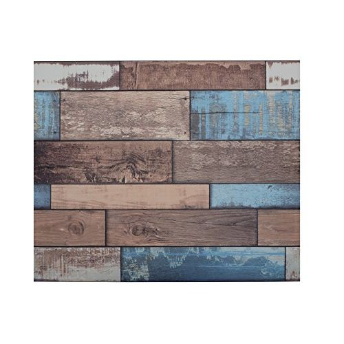 Store2508 Textured Self Adhesive Sticker Wallpaper, Colourful Wooden Planks Design, Full Roll, 0.53 x 10 Metres, 57 Square Feet