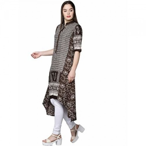 18 FIRE (LABLE) Women's Cotton Printed Flare Stitched Half Sleeves Kurti (Coffee Brown)