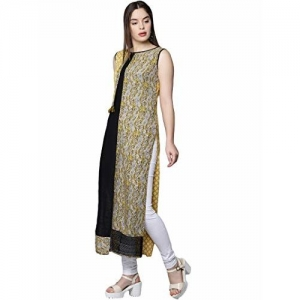 18 FIRE (LABLE) Women's Cotton & Tussar Printed Straight Stitched Sleeveless Kurti (Black)