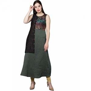 18 FIRE (LABLE) Green Cotton Printed Straight Stitched Sleeveless Kurti