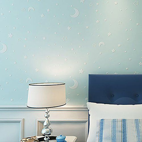Store2508 Glow Effect Night Sky Design Star and Moon Luminous Wallpaper Kids Ceiling Decor Fluorescent Wall Paper for Children Bedroom (0.53 * 10m, Appx. 57 Sq Feet)