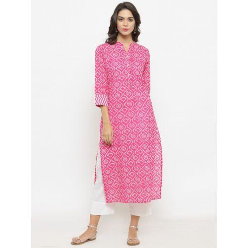Varanga Women Printed Straight Kurta(Pink)