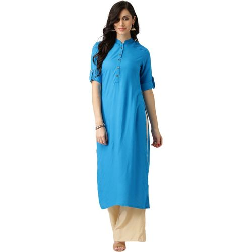 Libas Women Solid Straight Kurta(Blue)