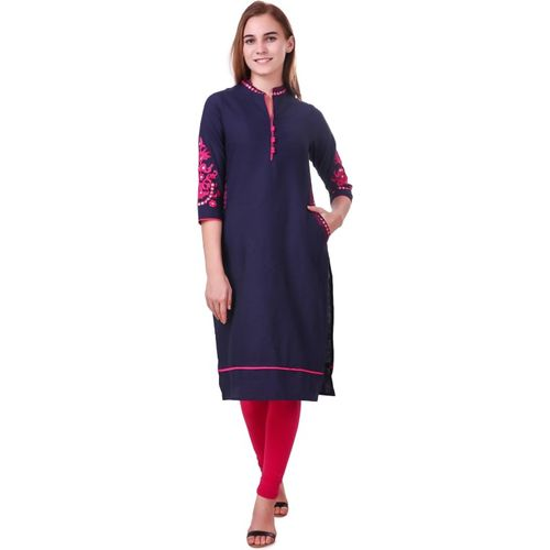 Metro Fashion Women Embroidered Straight Kurta(Blue)