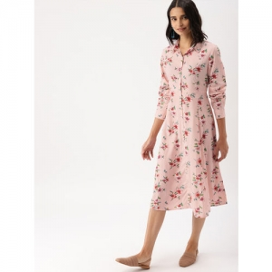 DressBerry Women Peach-Coloured Printed Shirt Dress