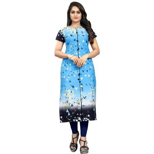 Saarah Women Self Design Straight Kurta(Blue)