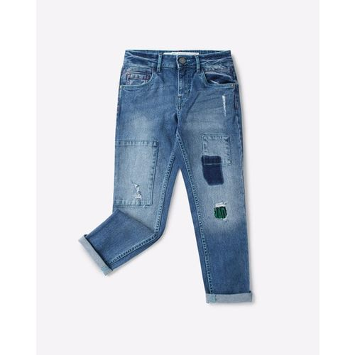 POINT COVE Panelled Distressed Jeans