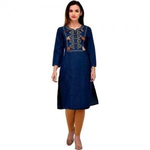 Rafflesia Tolpis Casual Embroidered Women Kurti(Blue)