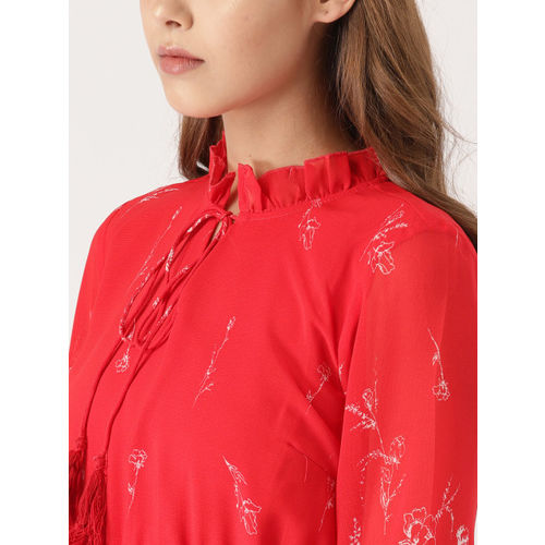 DressBerry Women Red Printed A-Line Dress