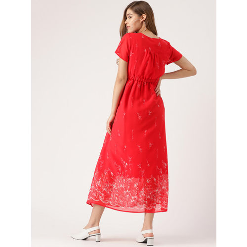 DressBerry Women Red & White Printed Maxi Dress