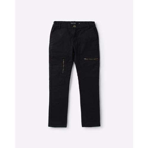 AJIO Mid-Rise Cargo Pants with Zip Pockets