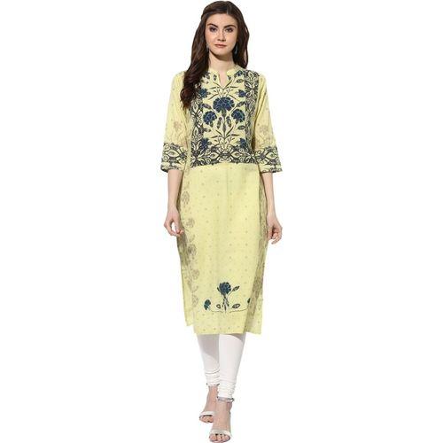 Mytri Women Floral Print Straight Kurta(Yellow, Blue)