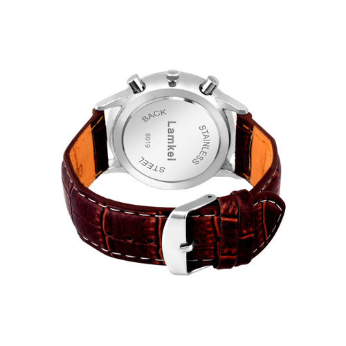 Lamkei Men White & Brown Analogue Leather Chronograph Watch LAM-1086