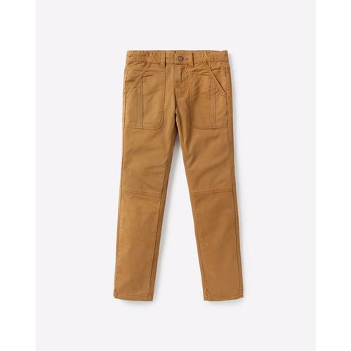 AJIO Mid-Rise Flat-Front Trousers