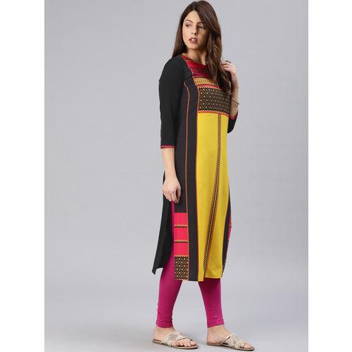 Vaamsi Women Black & Yellow Printed Straight Kurta