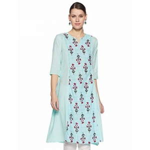 Indi lite Women's Princess Cut Kurta (ILSS19K08B_Mint_X-Small)