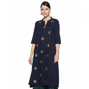 Indi lite Women's Princess Cut Kurta (ILSS19K09A_navy_Small)