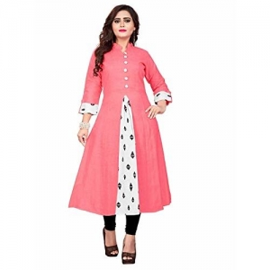 Shreeji krupa Empire Pink Cotton Long Kurti