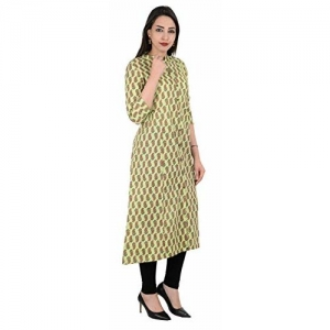 A Plus Creations Women's Cotton Fabric Green Stand Collar Kurti With 3/4th Sleeves; 9-AP0037 B