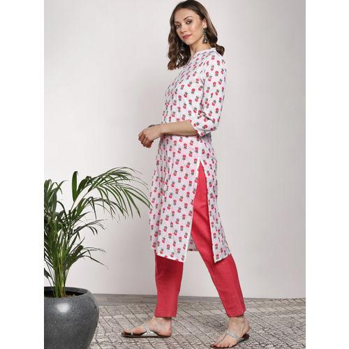 Sangria Women White & Red Printed A-Line Kurta