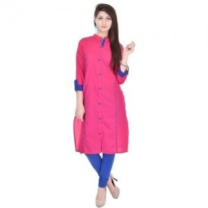 Qalamkari Women Solid Straight Kurta(Pink)